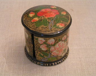 Hand-Painted & Lacquered Stamp Holder---From Kashmir, India---From 1977---New and Never Used