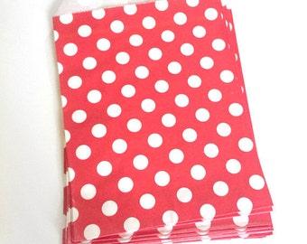 paper bags - treat bag - wedding favor bags - flat paper bag - gift bags - kraft paper bags - polka dot bags - set of 12 bags - red