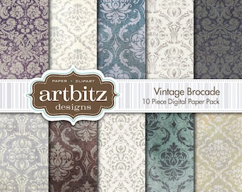"Vintage Brocade Damask 10 Piece Heavily Distressed & Textured Digital Scrapbooking Paper Pack, 12""x12"", 300 dpi .jpg, Instant Download!"