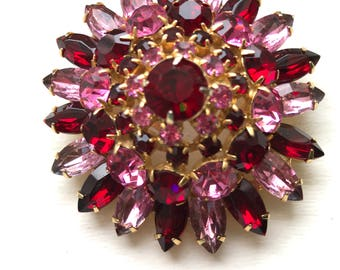 Vintage Ruby Red And Pink Rhinestone Domed Statement Brooch/Pin