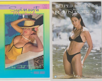 Comic Lot 2 pack of Swimsuits and Mermaids 1, and Super Models in the Rainforest 1. NM. 1996 - 1998. Sirius Entertainment and Image Guild.
