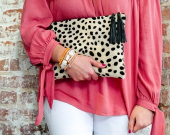 Small Cheetah Hair on Hide Clutch ~ Cheetah Print, Leopard Print, Animal Print, Statement Clutch, Hair on Hide, Calf Hair