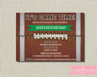 Football Birthday Invitation, Football Invitation, Football Party, Football Birthday, Tailgate Football Printable, Sports Birthday, Digital