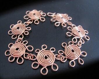 Copper wire wrapped daisy flower chain bracelet