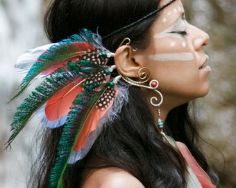 Flying Heads Exotic Crystal Feather Earcuff, Exotic Earcuff, Parrot and Peacock Feather Earcuff, Feather & Crystal Earcuff , Tribal Earcuff