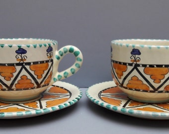 Orvieto Fusari Italy Set of 2 cups and saucers handpainted ceramic pottery as good as new