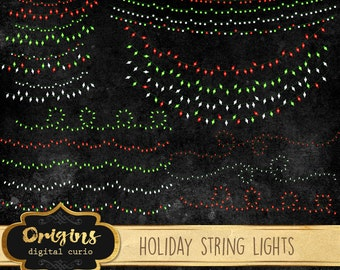 Holiday String Lights Vectors, Christmas lights clipart, string lights clip art, PNG & EPS graphics instant download commercial use
