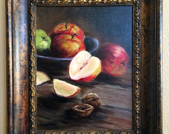 Red apples in vintage wood bowl original oil painting