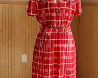Housewife dress - red pleated A line by Leslie Fay (80s replicates mid century style)