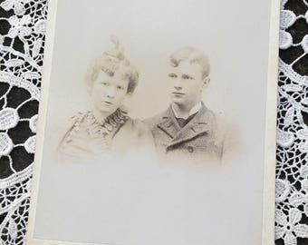 Ghostly Pale Siblings - Victorian Antique Photo Cabinet Card