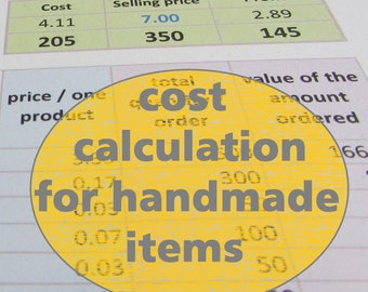 Pricing, profit and cost calculation for handmade items (MS Excel file) - easy to use digital spreadsheet, all in one page, ready to print