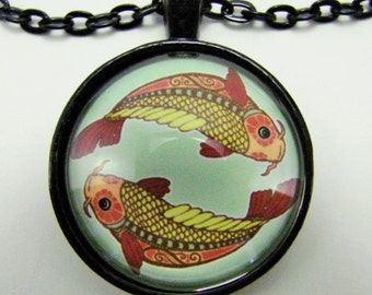 PISCES ZODIAC Necklace -- Gaudi art style Pisces necklace for him or her, February March birth month