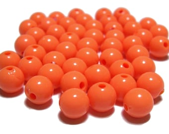 8mm Smooth Round Acrylic Beads in Tangerine 50 beads