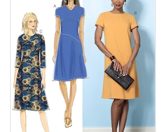 Butterick Pattern B6480 Misses' Dresses with Hip Detail, Neck and Sleeve Variations