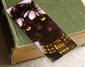 Black Cat Bookmark, Snowdrop Flower Winter Cat Art Bookmark