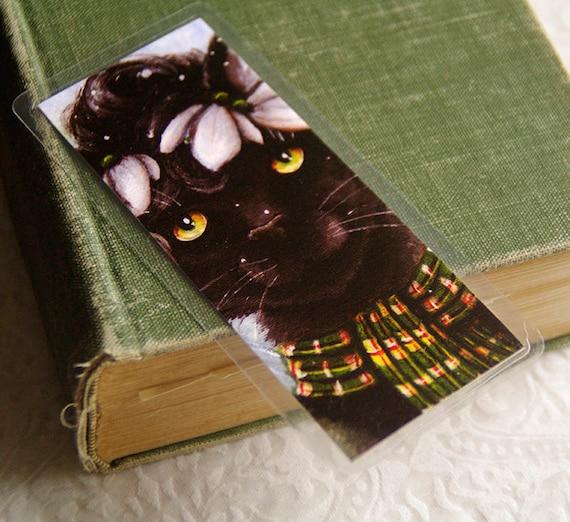 Black Cat Bookmark, Snowdrop Flower Winter Cat Art Bookmark