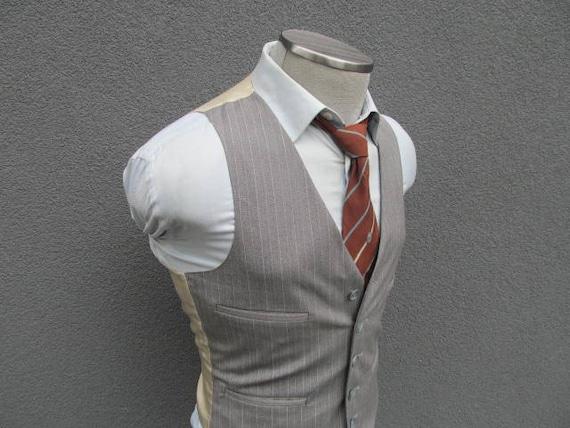 Vintage Reversible 1940's Plaid Brown Beige Wool Vest Mens Suit Vest Waistcoat Mens vest waistcoat / Size 40 / Medium / M az0Rl