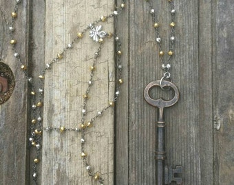 Beaded Layering Chain with Skeleton Key / Key Pendant / Key Jewelry / Vintage Jewelry / Steampunk Jewelry / Layering Necklace / Beaded Chain