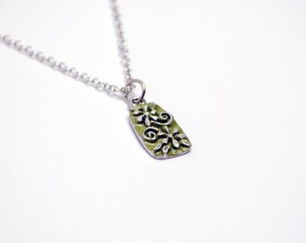 Hand Painted Floral Necklace in Silver - Green Flowers Necklace, Silver Flowers Necklace, Green Floral Necklace, Green and Silver Necklace