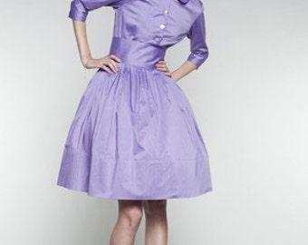 Bridesmaid dress Fit and flare Handmade 1950 dress 50s dress Dress with pockets Lilac dress  Full skirt dress Modest dress Knee length dress