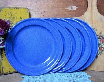 5 Blue Vintage Enamel Metal Plates Camping Picnic Enamelware Speckled