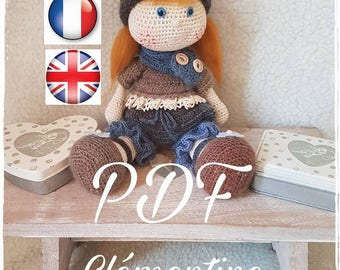 PDF pattern CROCHET Clementine, pretty little red, available in French, English