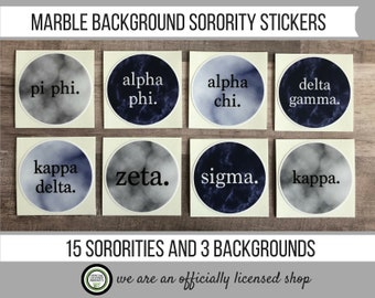 Marble Decal - Marble Sticker - Blue Marble Sorority Decal - Grey Marble Sorority Decal - Sorority Decal - Zeta - Kappa - 2 x 2 Circle Decal