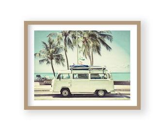 Retro Camper, Seaside Decor, Coastal Decor, Beach Decor, Beach Photography, Coastal Wall Art, Beach Wall Art, Coastal Prints, Surfer Print