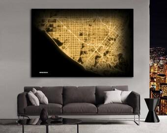 HUNTINGTON Beach California Night Lights Map Large Horizontal Wall Art Map Huntington Beach CA Modern Art Neon City Street Map NLM