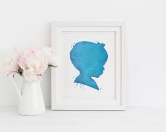 Printable Art: Watercolor Silhouette /Baby girl with bow / blue