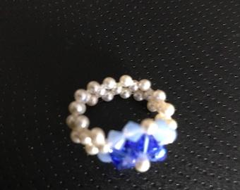 Swarovski crystal and mini pearl ring