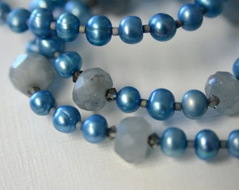 "Aquamarine Necklace and Earring SET with Blue Grey Pearls and Sterling Silver .  ""Stormy Sea"" Handmade in Maine"
