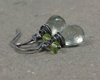 Moss Aquamarine, Peridot Earrings March, August Birthstone Petite Oxidized Sterling Silver Earrings Gift for Her