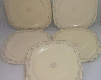 "Homer Laughlin, Century, Garland/Three Daisy Dinner Plates Bowls (FIVE), 9-5/8"""