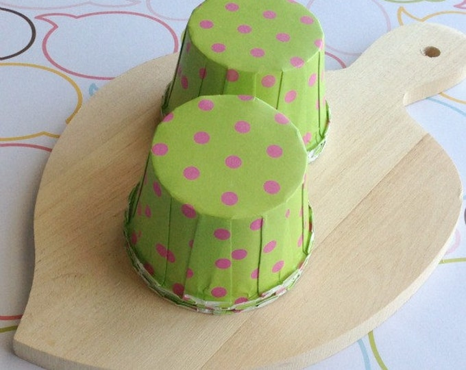 25 Lime/Pink Polka Dots Baking Cups