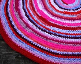 Girls bedroom multicolor crochet rug, childrens rugs, nursery rugs, kids bedroom rug, crochet round rugs, crochet floor rugs, farmhouse rugs