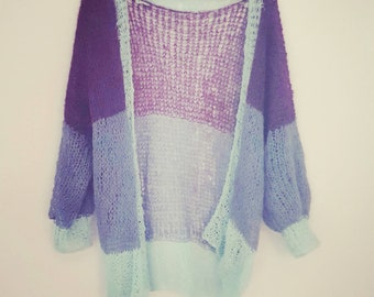 Hand knitted alpaca cardigan / capelet. Handmade loose knitted soft & cozy cardigan made by alpaca and silk. Available in many colors.