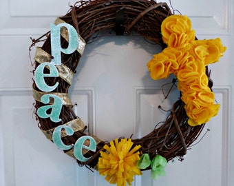 Peace Wreath Grapevine wreaths Cross Wreath Grapevine wreath Easter wreath Easter wreaths holiday wreath easter décor wall décor