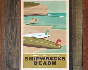 Poipu, Kauai, Shipwrecks Beach - 12 x 18 Retro Hawaii Travel Print
