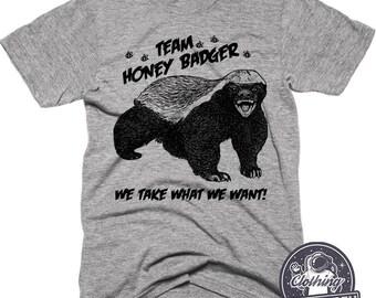 Team Honey Badger Shirt | Funny Shirts | Mens Tshirt | Womens Graphic Tees | Team Shirt | Camping Shirt | Matching Running Shirts | Marathon