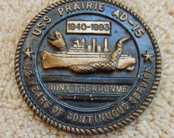 Maratime Plaque, Battleshhip USS Prairie Naval Ship, Navy Memorabelia, Round Metal Plaque