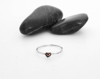 Heart Ring, Heart Jewelry, Heart, Silver Heart Ring, Love Ring, Anniversary Gift, Love Jewelry, Silver Ring, Stacking Ring, Tiny Heart Ring