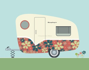 Poster – retro red daisy caravan