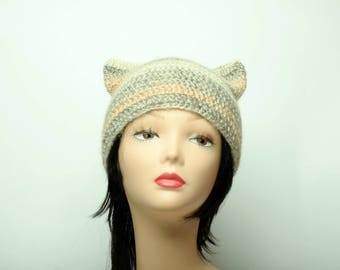 wool cat hat gray woman hat spring fashion white cat hat special gifts crochet kitty hat cat ear beanie