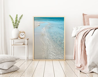Beach Photography Crystal Clear Sea Print Beach Print Digital Print Summer Decor Light Blue decor Sea lovers gift