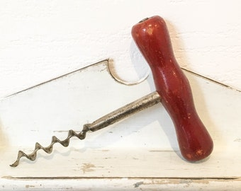 Vintage Wood Corkscrew, Bottle Opener, Barware, Wine Opener Rustic Primitive Vintage Bar accessories decor