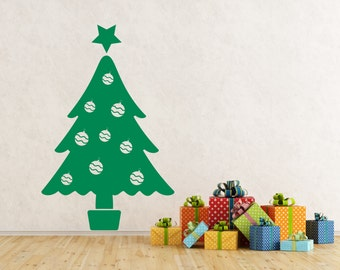 Christmas Tree with Baubles & Star self adhesive vinyl decal sticker for walls, windows and mirrors.(#56)