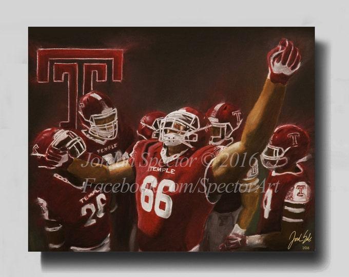 Temple Owls Art - Temple Owls Football - Philly Art - Canvas Prints - Dorm Decor - Temple Football - 2016 - Philadelphia Gifts - art print