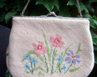 Charming Needlepoint Pastel Flower Handbag c 1960