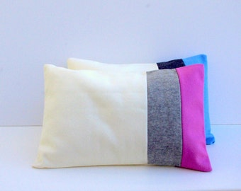 Cream, Gray and Pink Pillow Case, Felt Pillow Cover Dusty Pink Light Gray and Cream